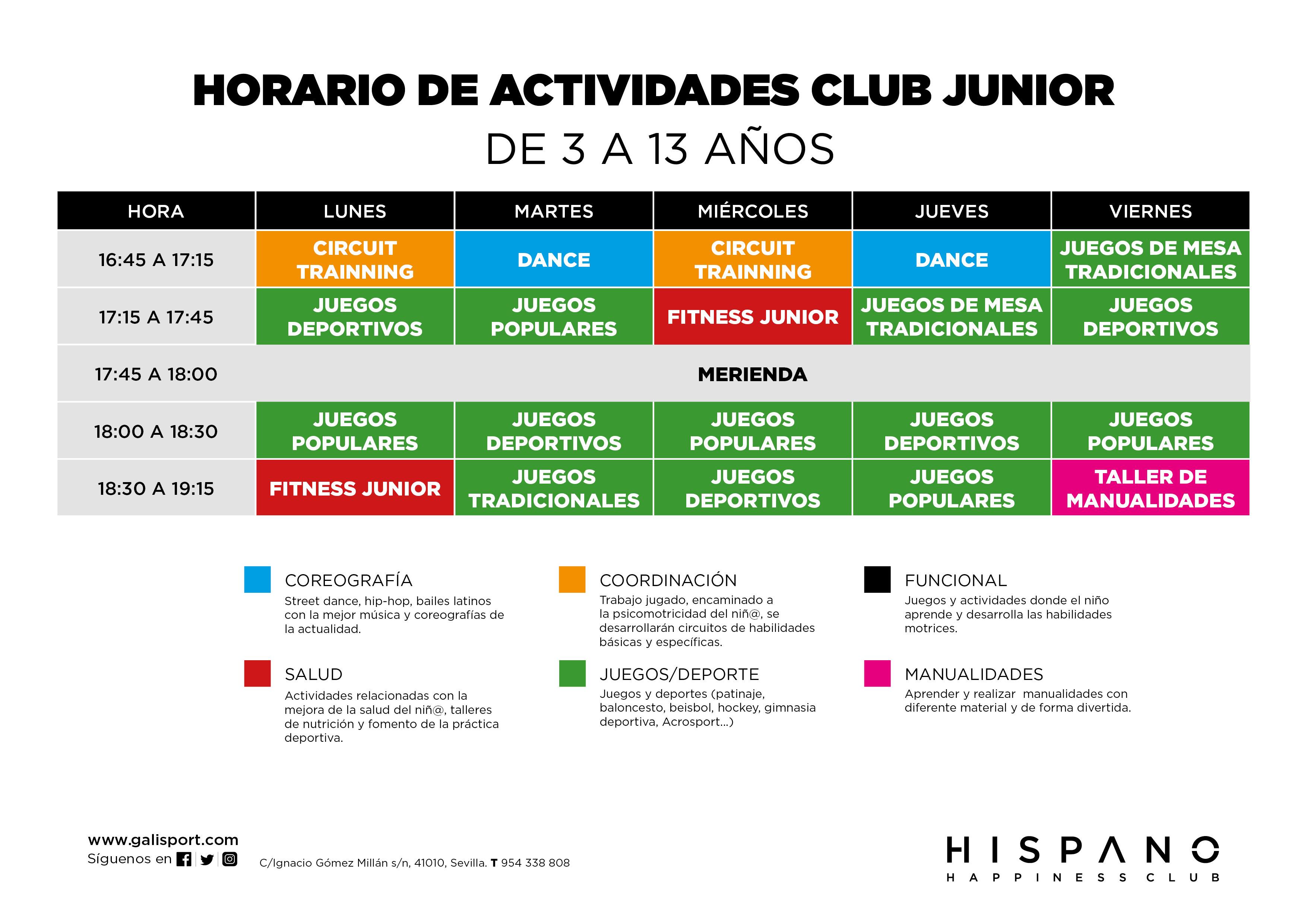 horario club junior